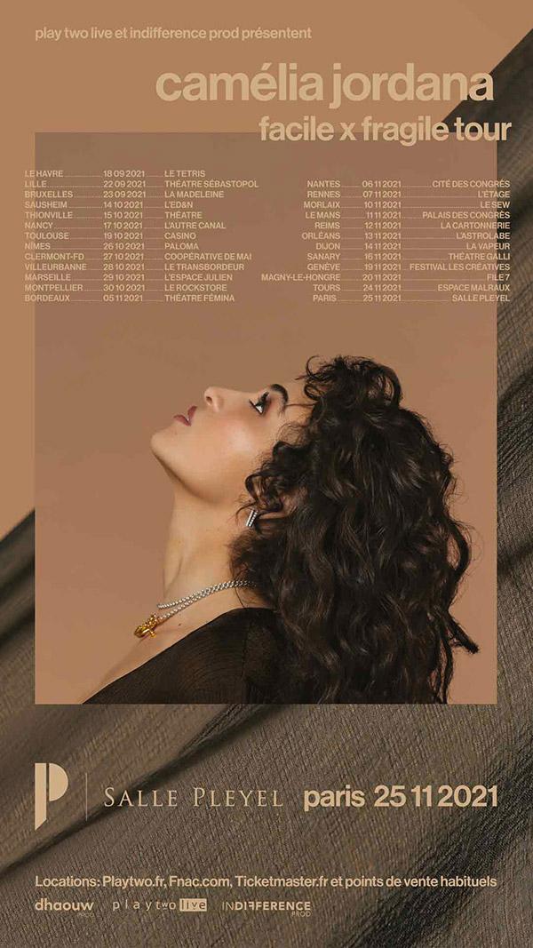 Réservez vos places de concert Camélia Jordana facile x fragile tour