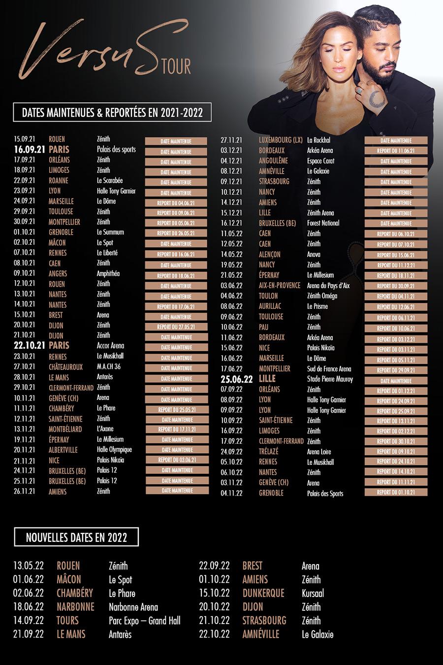 VersuS Tour - Vitaa & Slimane : report de certaines dates et nouvelles dates en 2022